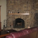 Stone fireplace in the Lee Home